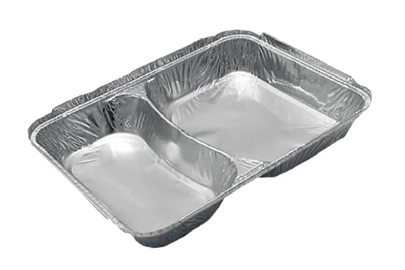 Posuda od aluminijuma sa poklopcem, dvodelna, za brzu hranu